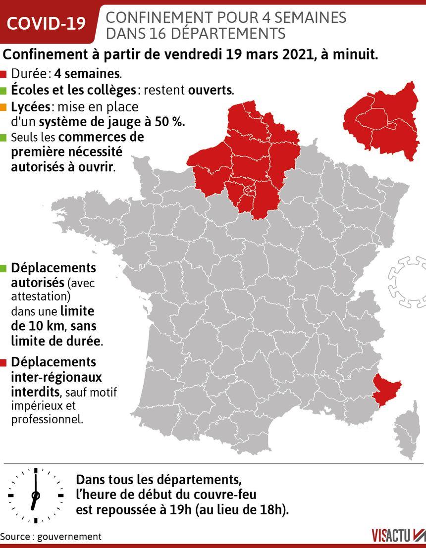Confinement : les 16 départements concernés